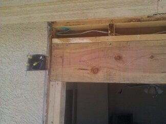 Header beam above a door.